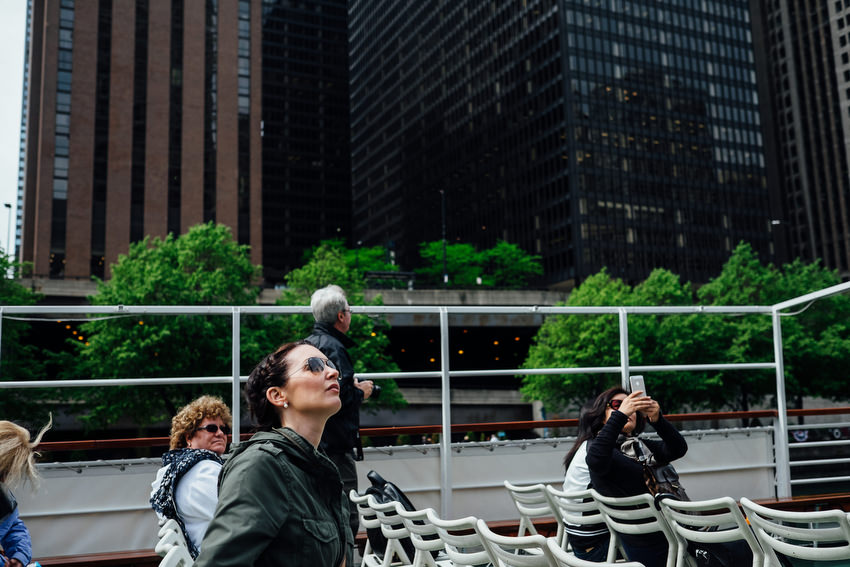 Architecture, Boat Tour, Buildings, Chicago, City, david mcclelland, girl, photography, skyscrapers, sunny, tourists, trees