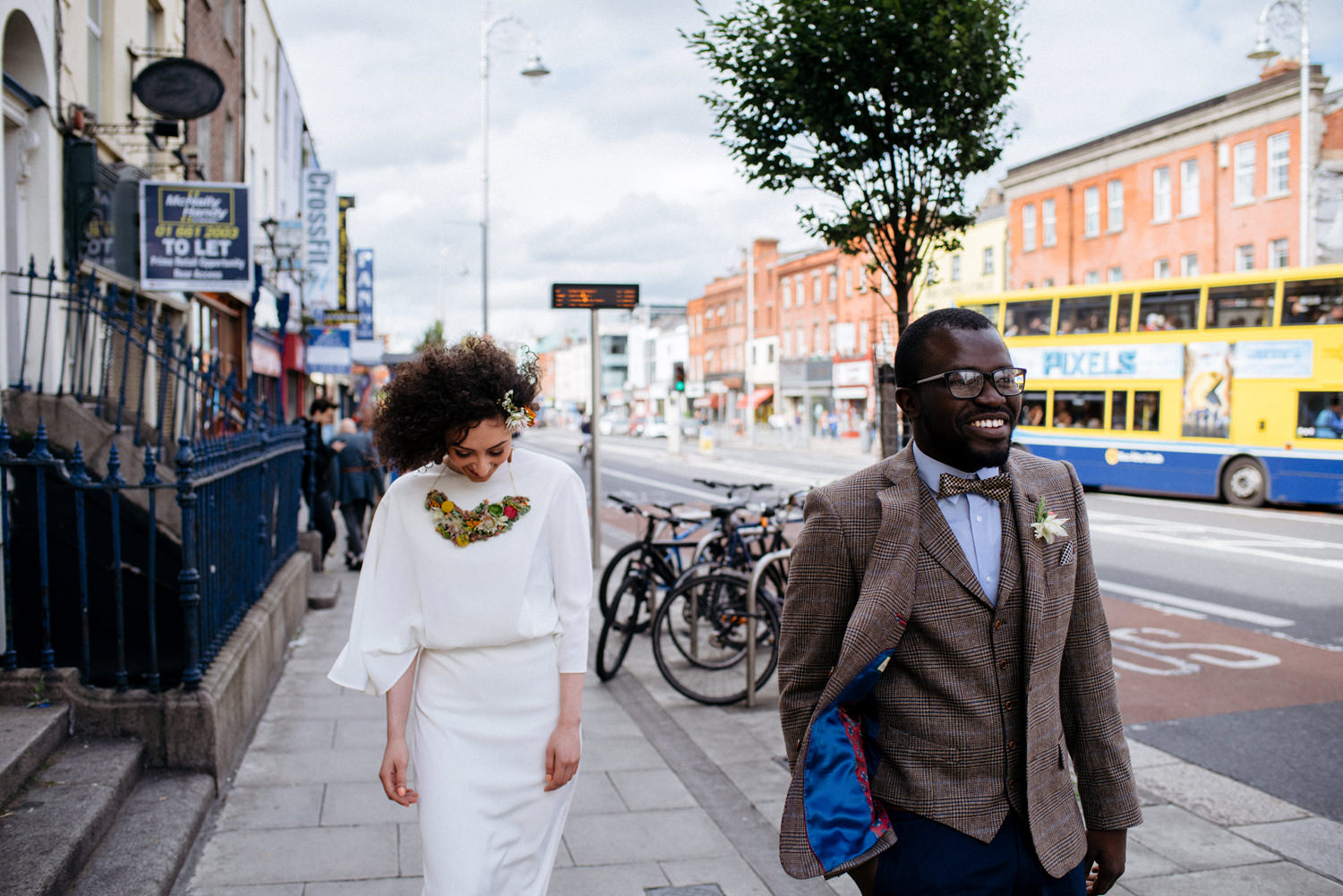 happy dublin city wedding portraits interracial couple