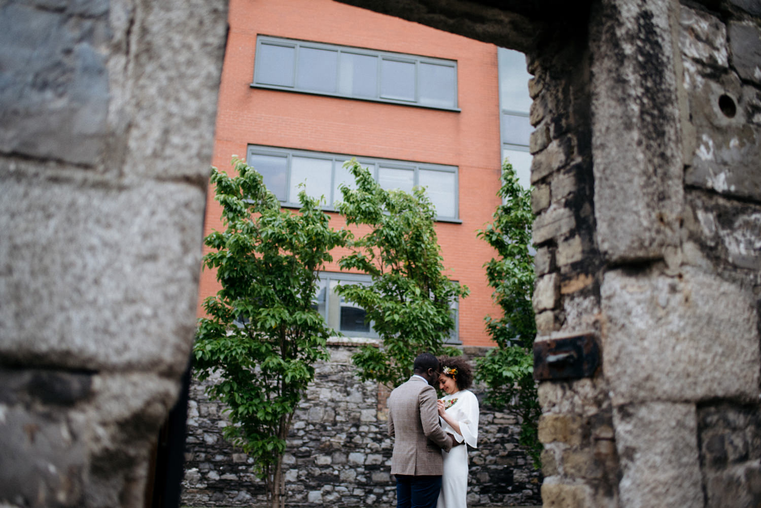 evening dublin city wedding portraits interracial couple