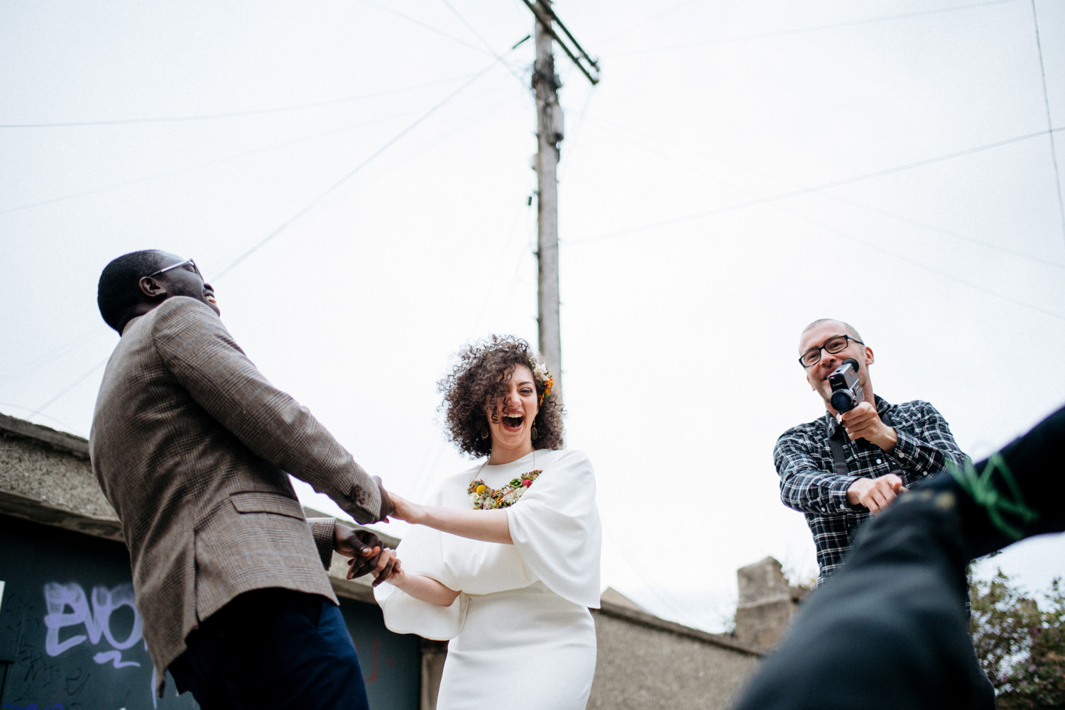 fun dublin city wedding portraits cool couple