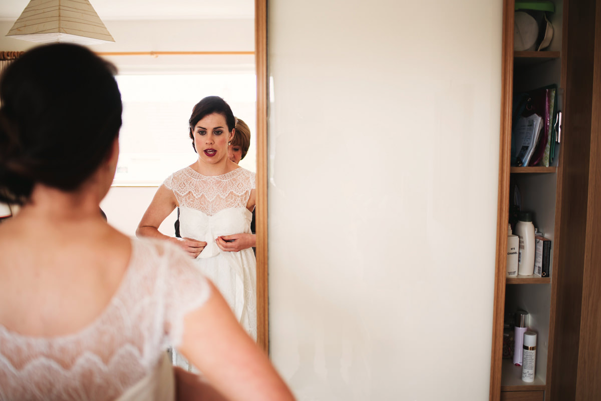 bride with lace wedding dress