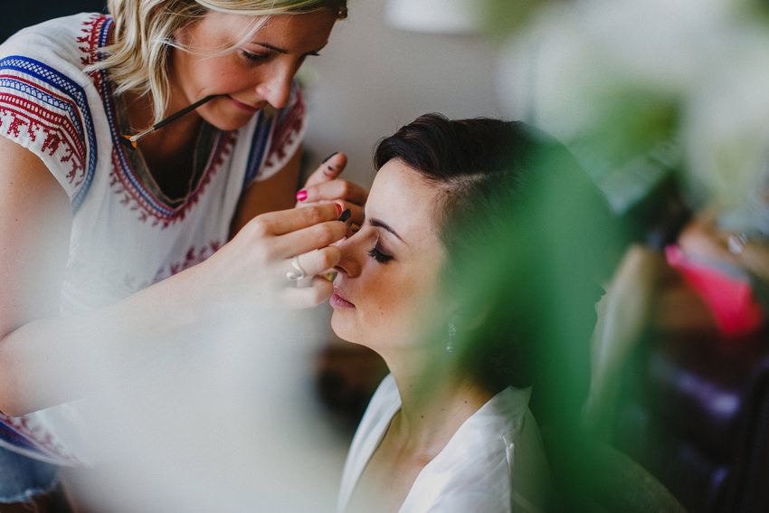 NYC Makeup Artist Reiva Cruze at work on NYC Bride
