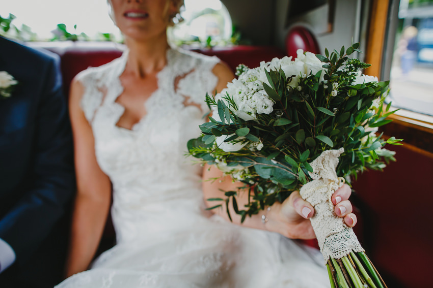 bride in car driving to dublin city hall