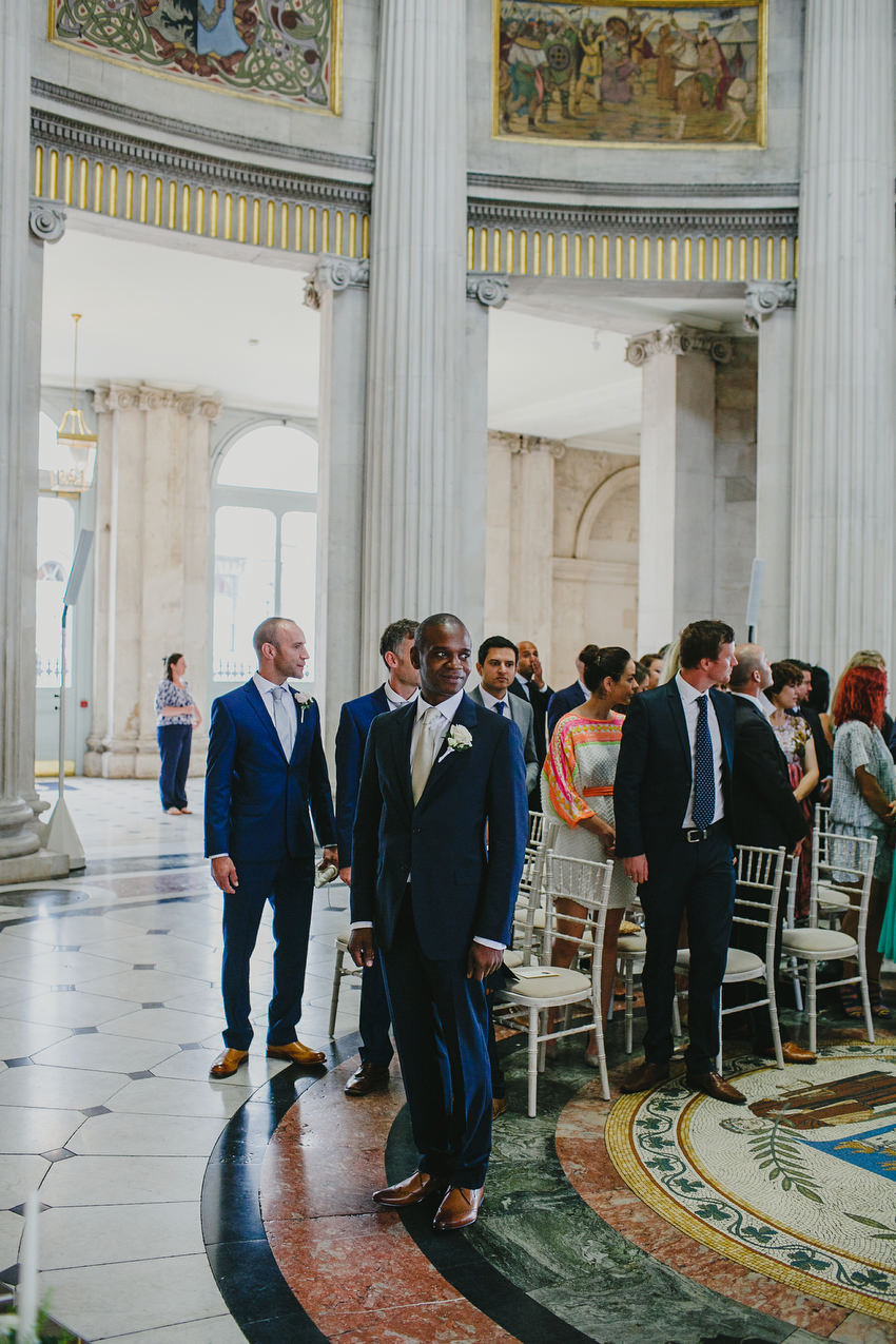 groom waiting for bride at dublin city hall ceremony