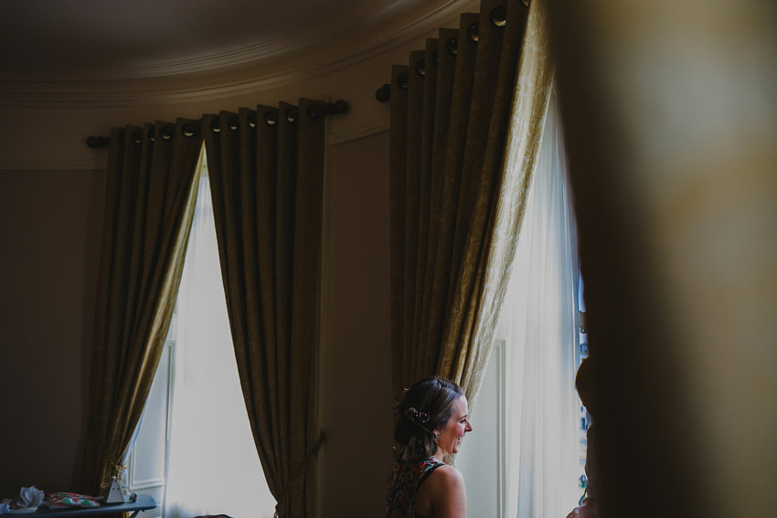 Bride getting ready at Royal Marine Hotel in Dun Laoghaire