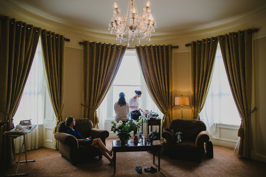 bride preparation at Royal Marine Hotel in Dun Laoghaire