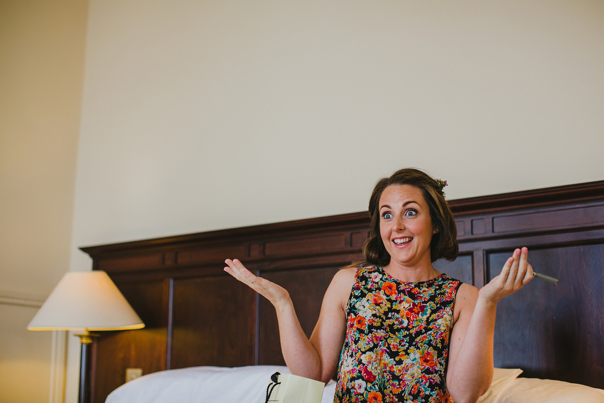 excited and happy bride at royal marine hotel Dun Laoghaire