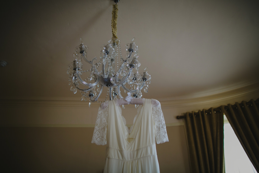 dress hanging from lamp in royal marine hotel Dun Laoghaire