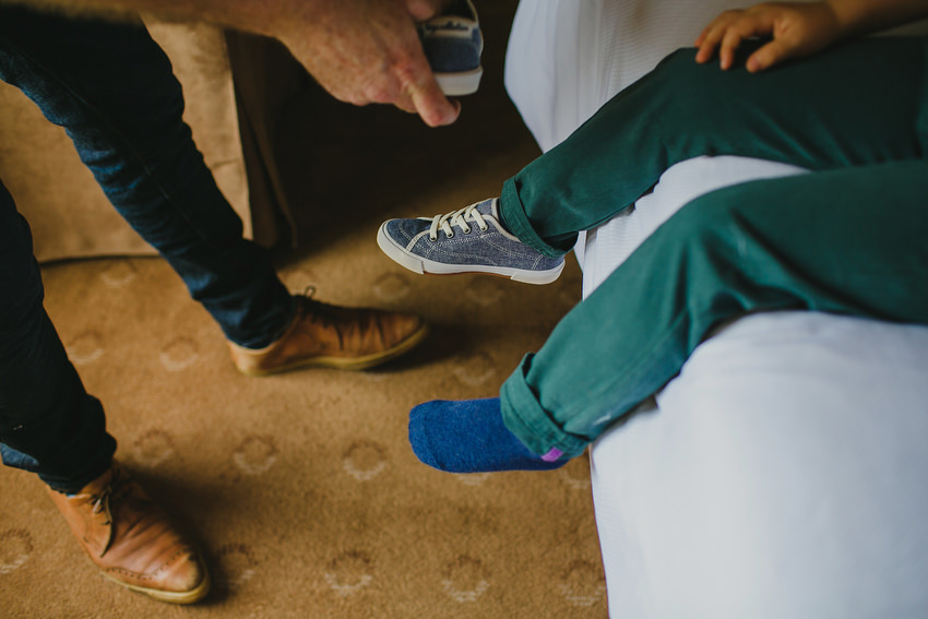 blue shoes and green trousers for boy
