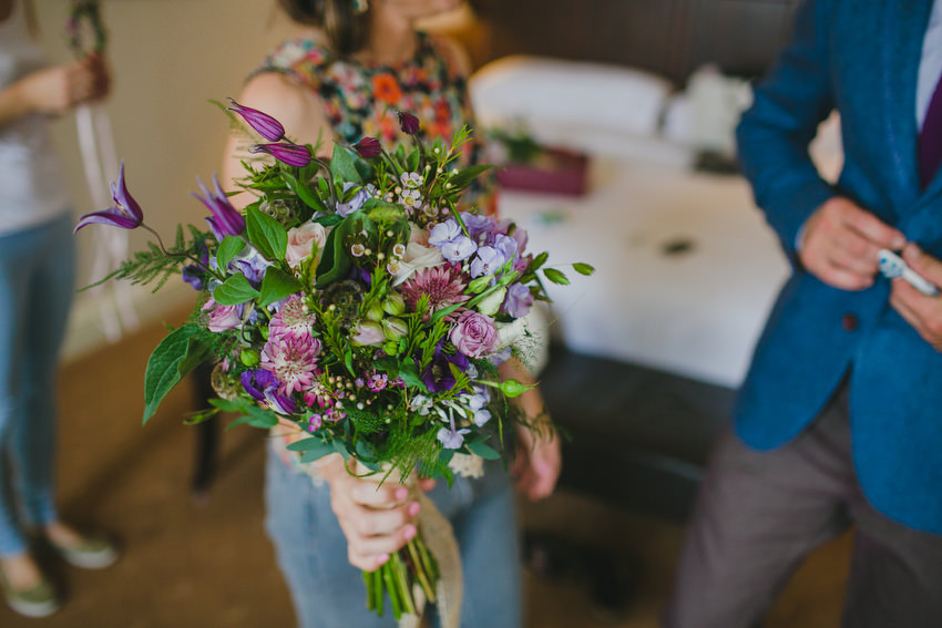 brides flowers with purple