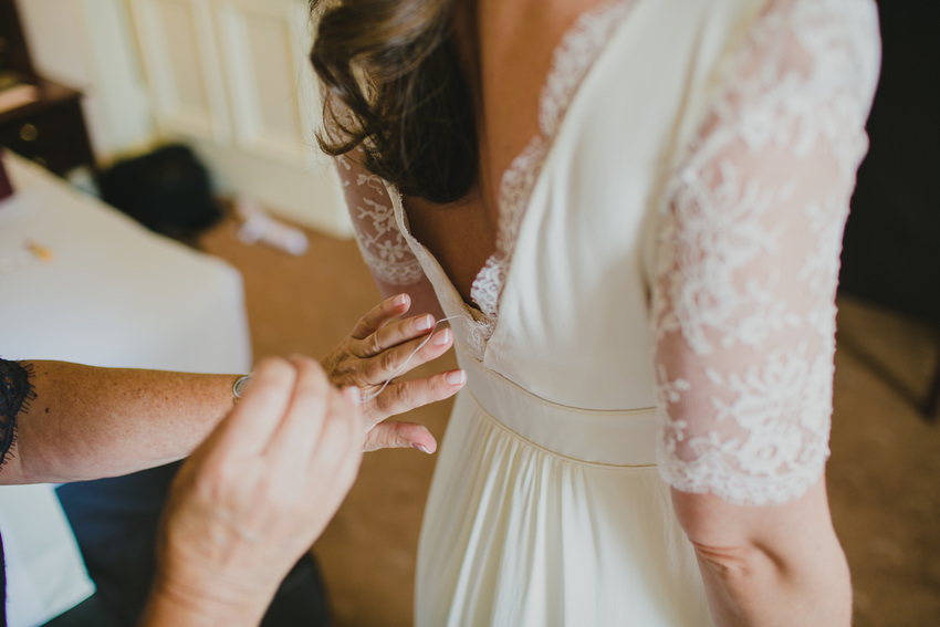 brides dress with sewing thread
