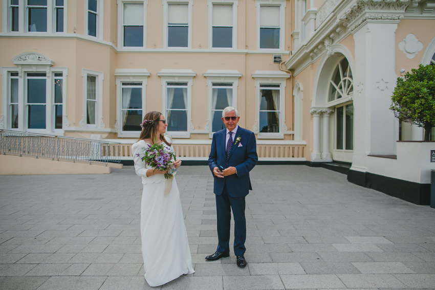 bride and her father before the ceremony