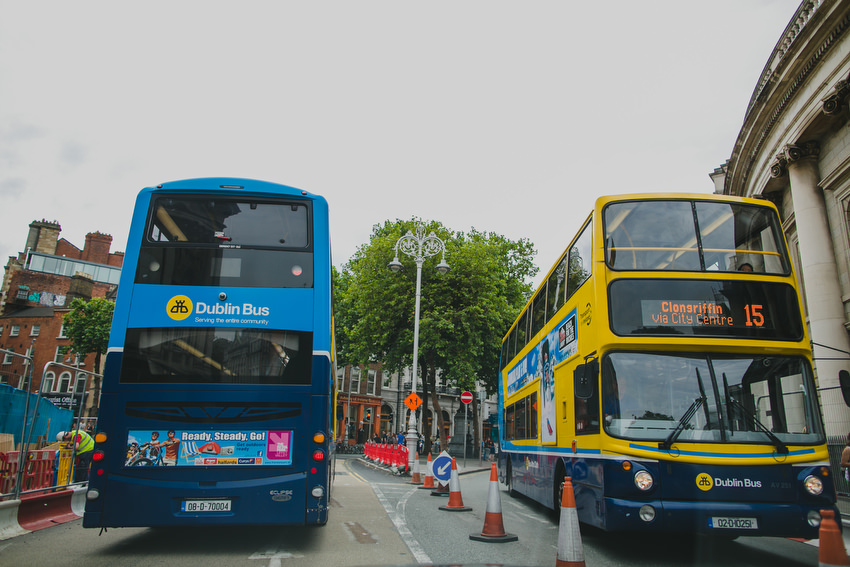 dublin buses on college green