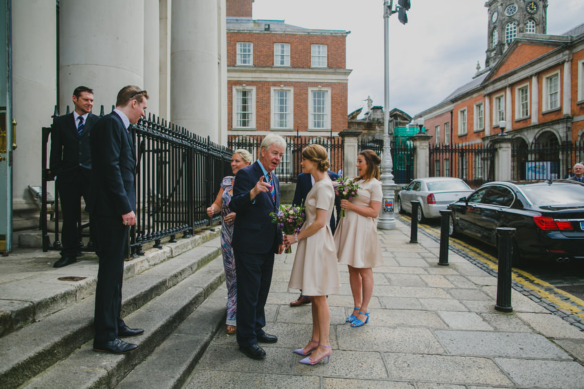 bridesmaids outside dublin city hall for a wedding with brian whiteside