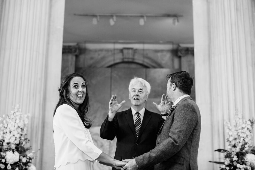 bride and groom taking vows and brian whiteside at dublin city hall