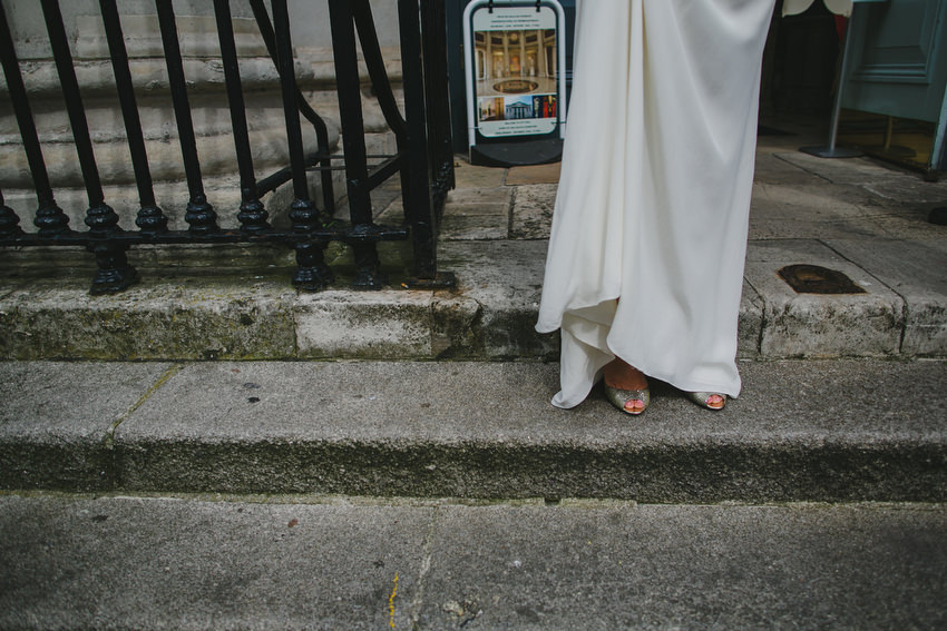 brides feet and shoes at dublin city hall steps