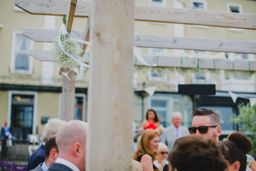 guests with sunglasses at olivetos restaurant for wedding