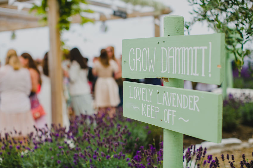 signs and guests at olivetos restaurant for wedding