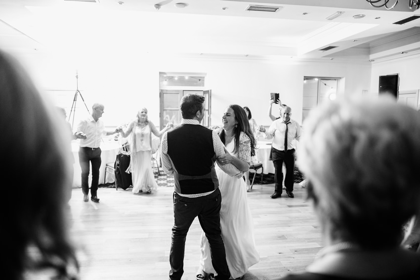 first dance between bride and groom at oliveto restaurant