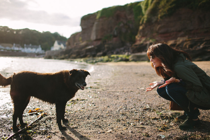 dee and the dog at dunmore east bay