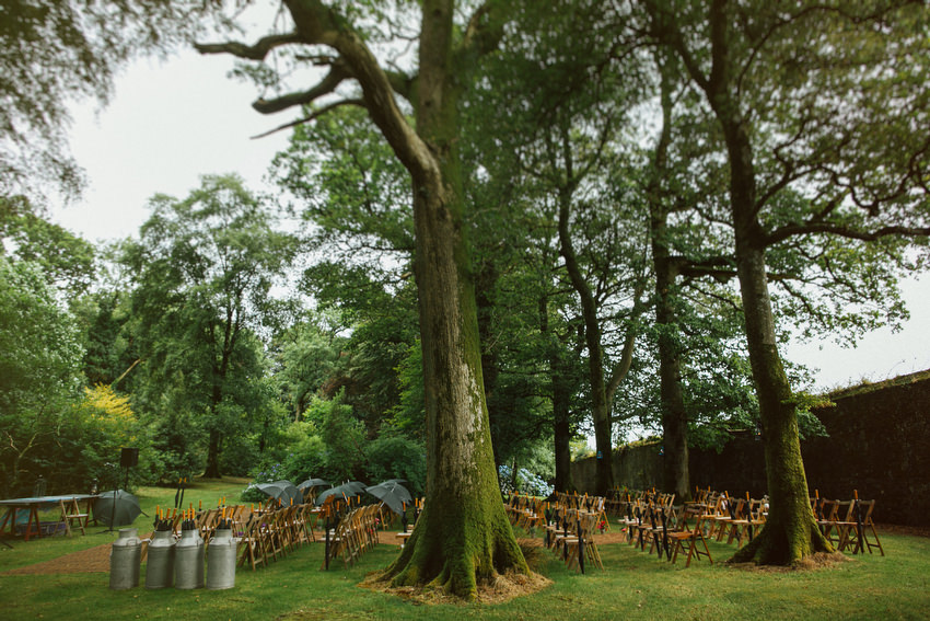 wedding ceremony in the woods at ballyvolane house
