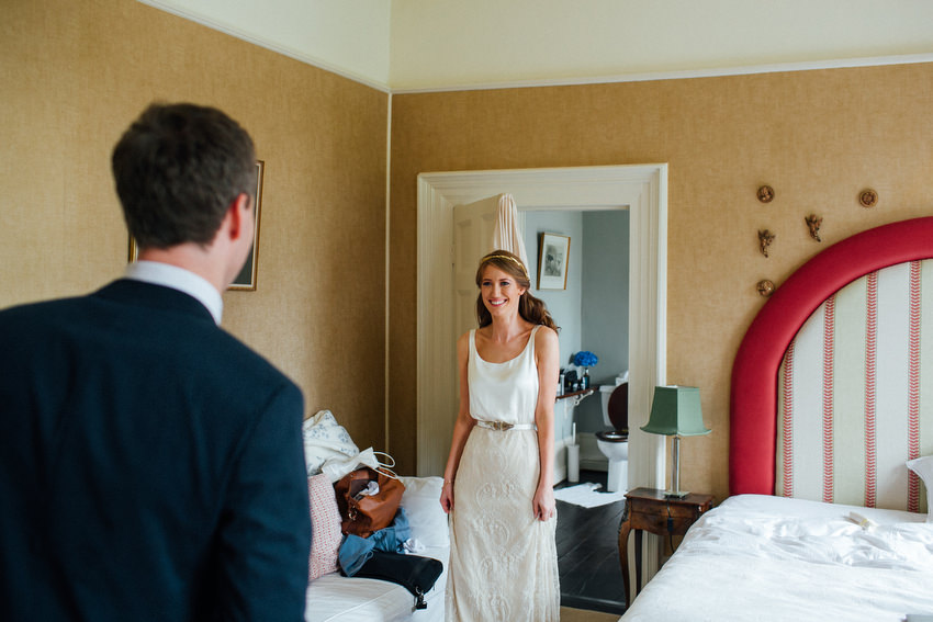 bride and groom first look at ballyvolane house