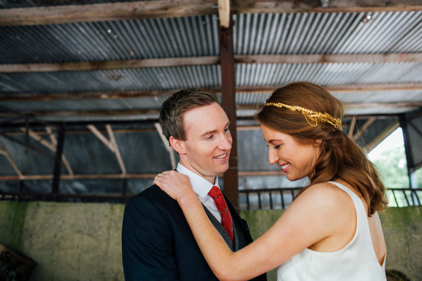 bride and groom in the barn at ballyvolane