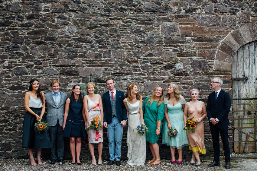 colourful bridal party at ballyvolane house