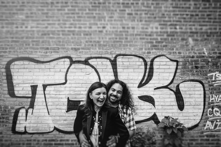 fun couple engagement shoot in chicago by irish photographer