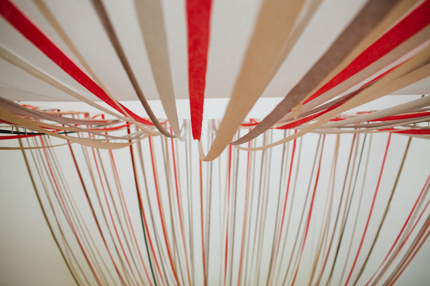 lisnavagh house marquee with ribbon streamers