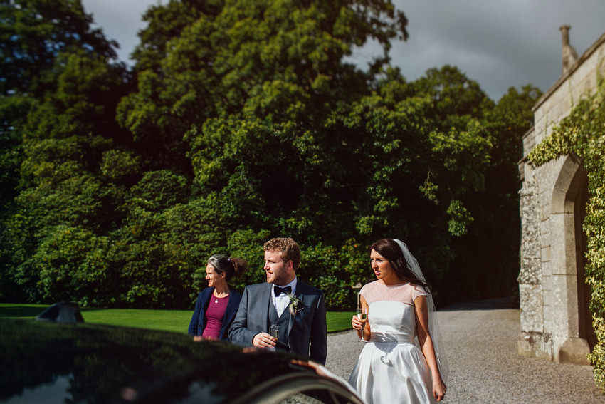 couple arriving at lisnavagh house